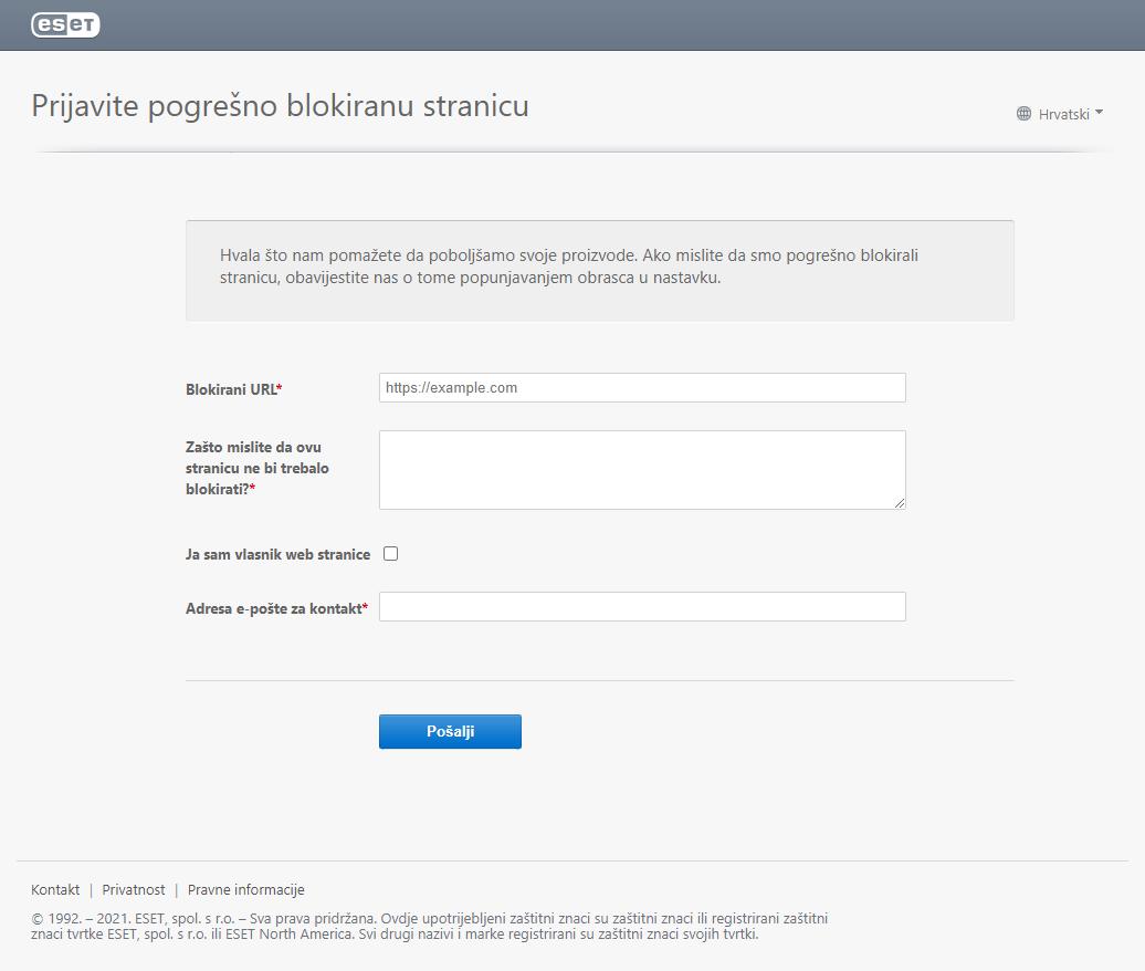 Prijavite pogrešno blokiranu stranicu